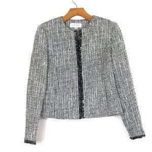 ♟Calvin Klein Open Front Tweed Jacket